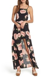 Band Of Gypsies Floral Maxi Romper Black Floral