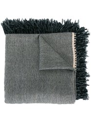 Isabel Marant Fringed Trim Knitted Scarf Grey