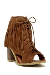 Nature Breeze Aton Fringe Cuff Open Toe Bootie Brown