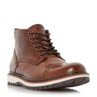Dune Champion Leather Sporty Sole Boots Tan