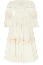 Dolce And Gabbana Off The Shoulder Tiered Broderie Anglaise Cotton Blend Poplin Midi Dress White