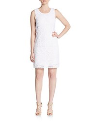 Laundry By Shelli Segal Embroidered Shift Dress White