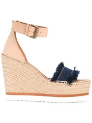 See By Chloe Frayed Wedged Sandals Blue