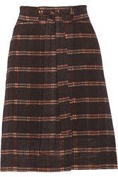 Etoile Isabel Marant Vepia Plaid Cotton Skirt Brown