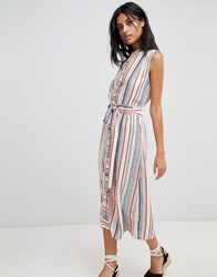 Warehouse Stripe Linen Shirt Dress Stone