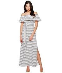 Vince Camuto Cotton Off The Shoulder Maxi Navy Ivory Women's Dress Blue