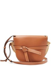 Loewe Gate Leather And Raffia Cross Body Bag Tan Multi