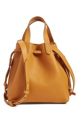 Madewell The Mini Pocket Transport Leather Drawstring Tote Yellow Bronzed Leaf