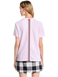 Thom Browne Back Stripe Cotton Pique T Shirt Pink