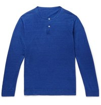 Anderson And Sheppard Linen Henley T Shirt Blue