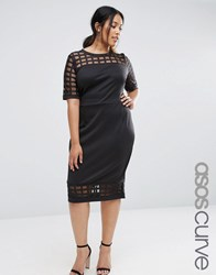 Asos Curve Cage Insert Bodycon Dress Black