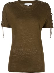 Iro Lace Up Sleeves T Shirt Green
