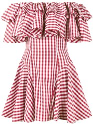 House Of Holland Gingham Off Shoulder Dress Women Cotton 14 Red