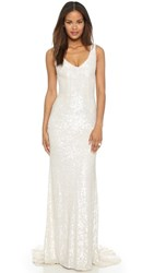 Theia Harlow Sequin Gown White