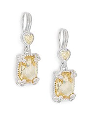 Judith Ripka Ambrosia Canary Crystal White Sapphire And Sterling Silver Heart Cushion Drop Earrings Silver Yellow