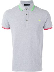 Etro Neon Detail Polo Shirt Grey