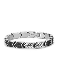 David Yurman Chevron Link Bracelet With Black Diamonds Silver