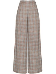 Roland Mouret Tayport Wide Leg Checked Trousers Pink