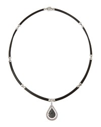 Alor 18K Black And White Diamond Micro Cable Teardrop Pendant Necklace Women's