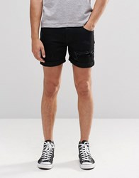 Dr. Denim Dr Mac Slim Shorts Black Ripped Black Ripped