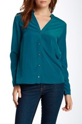 Zoa Split Neck Button Front Blouse Blue