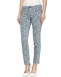 Stella Mccartney Slim Fit Animal Print Denim Ankle Pants Blue