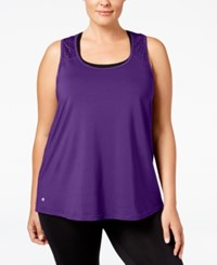 Ideology Plus Size Performance Racerback Tank Top Only At Macy's Night Iris