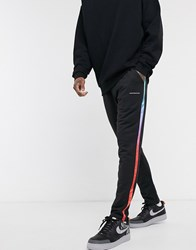 Good For Nothing Jersey Jogger With Rainbow Taping In Black