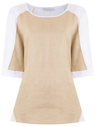 Mara Mac Bicolor Raglan Sleeves Blouse Neutrals
