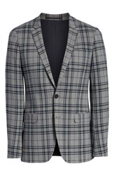 Topman Skinny Fit Plaid Suit Jacket Grey Multi