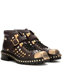 Miu Miu Embellished Leather Ankle Boots Brown