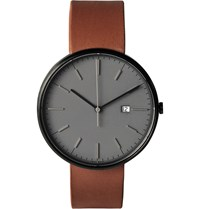 Uniform Wares M40 Pvd Plated Stainless Steel And Leather Wristwatch Gray
