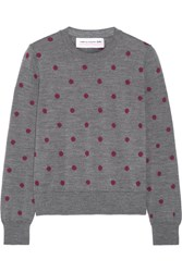 Comme Des Garcons Girl Polka Dot Intarsia Wool Sweater Anthracite