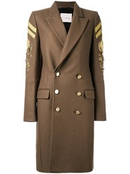A.F.Vandevorst Double Breasted Military Coat Polyamide Virgin Wool Nude Neutrals