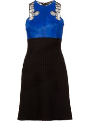 David Koma Lace And Pony Fur Bodice Dress Black