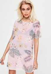 Missguided Pink Oversized Floral Print Mesh T Shirt Dress