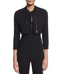 Agnona Cropped Utility Jacket Black