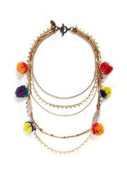Venna Glass Crystal Pave Charm Mixed Chain Necklace Multi Colour
