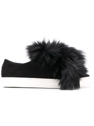 Mr And Mrs Italy Fur Trimmed Sneakers Black