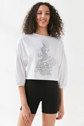 Silence And Noise Tattoo Dragon Long Sleeve Top White