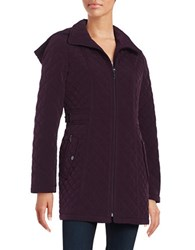 Gallery Hooded Quilted Coat Blackberry
