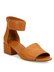 Vince Rosalia Leather Grip Tape Block Heel Sandals Black Saddle Tan