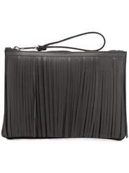 Gum Fringed Wristlet Clutch Black
