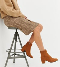 Monki Faux Suede Heeled Ankle Boots In Rust Multi