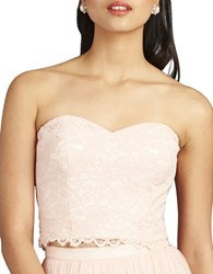 Donna Morgan Adeline Strapless Cropped Lace Bustier Pearl Pink