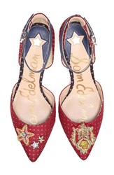 Sam Edelman Women's Tabby Embellished Pump Red Blue Multi Fabric