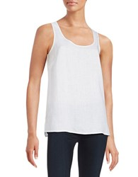Lord And Taylor Linen Keyhole Tank White