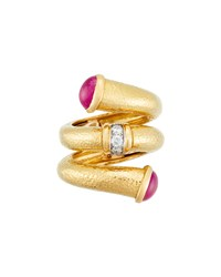 David Webb 18K Ruby Tip Nail Ring With Diamonds White
