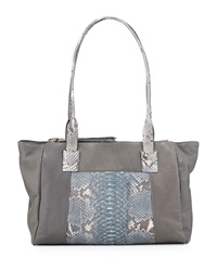 Carlos Falchi Connie Python Trim Double Zip Leather Tote Bag Gray Natural