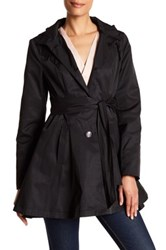 Betsey Johnson Tie Waist Fit And Flare Rain Coat Black